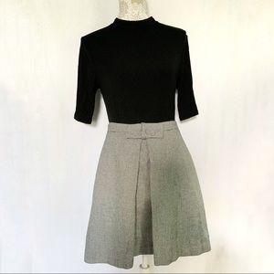 Loft // Outlet Black, Grey Box Print Bow Skirt 6